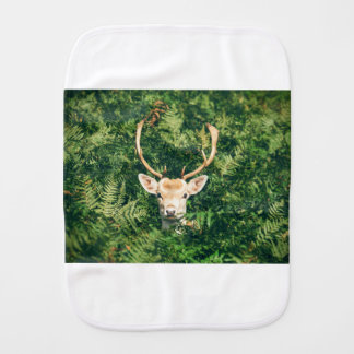 White-Tailed Deer Peeking Out of Bushes Burp Cloth