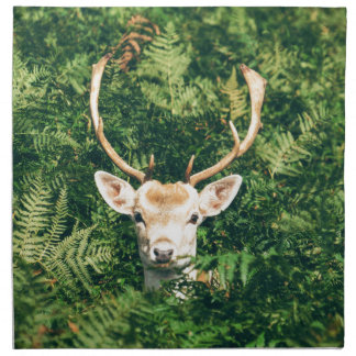 White-Tailed Deer Peeking Out of Bushes Napkin