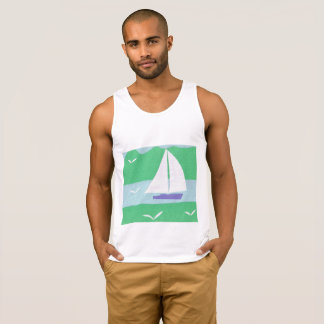 White Tank Top with Sailboat