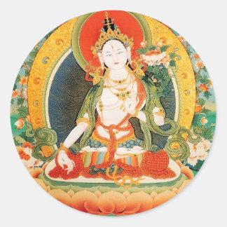 WHITE TARA BUDDHIST DEITY ROUND STICKER