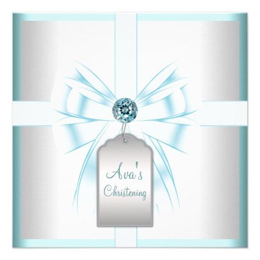 White Teal Blue Baby Baptism Christening Custom Invites