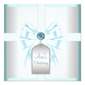 White Teal Blue Baby Baptism Christening 5.25x5.25 Square Paper Invitation Card