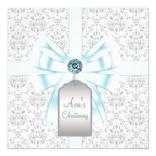 White Teal Blue Damask Baby Baptism Christening Personalized Invitations