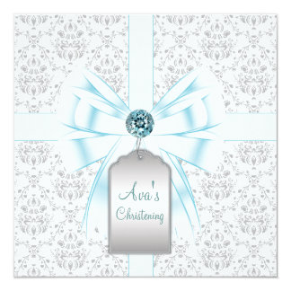 White Teal Blue Damask Baby Baptism Christening 5.25x5.25 Square Paper Invitation Card