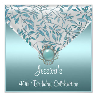 White Teal Blue Floral Jewel 40th Birthday 13 Cm X 13 Cm Square Invitation Card
