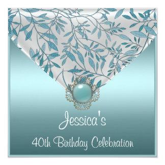 White Teal Blue Floral Jewel 40th Birthday 13 Cm X 13 Cm Square Invitation Card