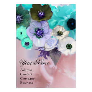WHITE TEAL BLUE ROSES AND ANEMONE FLOWERS MONOGRAM BUSINESS CARDS