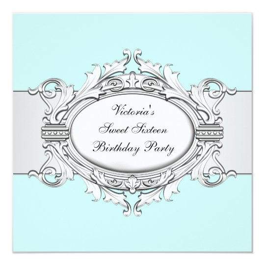 White Teal Blue Sweet Sixteen Party Card