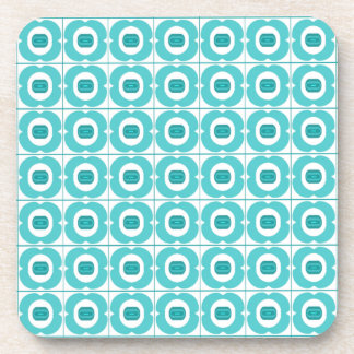 White/Teal coaster with a Retro Flower Design.