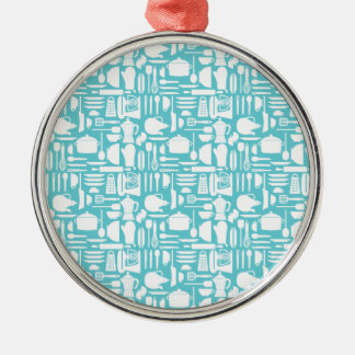 White Teal Kitchen Things Round Metal Christmas Ornament