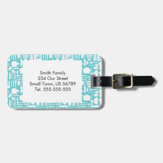 White Teal Kitchen Things Luggage Tag