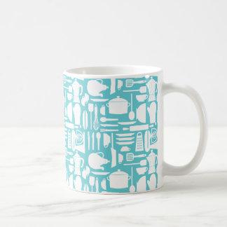 White Teal Kitchen Things Mug
