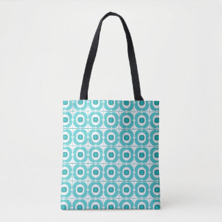 White/Teal Tote with a Retro Flower Design.