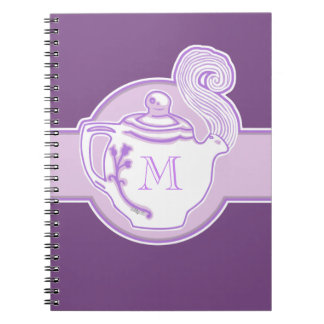 White Teapot Lavender Purple Monogram Notebook