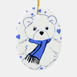 White Teddy Bear with Bright Blue Hearts Ceramic Oval Decoration