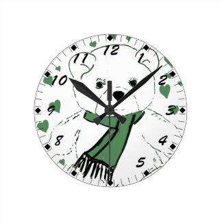 White Teddy Bear with Dark Green Hearts Round Clock