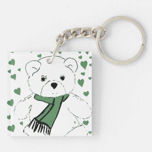 White Teddy Bear with Dark Green Hearts Square Acrylic Keychains