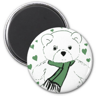 White Teddy Bear with Dark Green Hearts Refrigerator Magnets