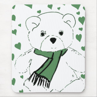 White Teddy Bear with Dark Green Hearts Mouse Pad