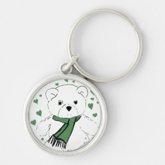 White Teddy Bear with Dark Green Hearts Silver-Colored Round Key Ring