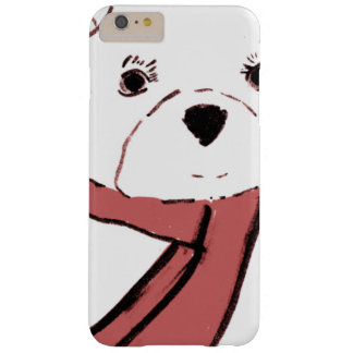 White Teddy Bear with Dusky Red Hearts Barely There iPhone 6 Plus Case