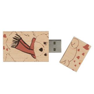 White Teddy Bear with Dusky Red Hearts Wood USB Flash Drive