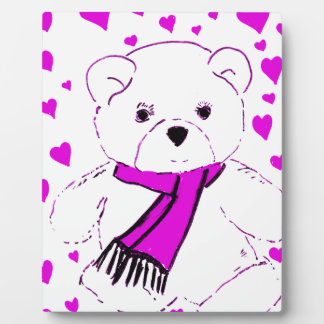 White Teddy Bear with Magenta Hearts Display Plaque