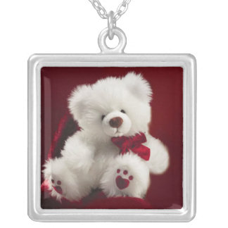White Teddy Bear with Red Bow  Necklace