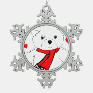 White Teddy Bear with Red Hearts Snowflake Pewter Christmas Ornament