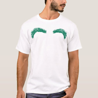 White tee-shirt Green Eyebrows T-Shirt