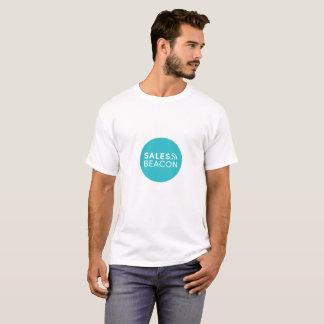 White tee teal circle logo