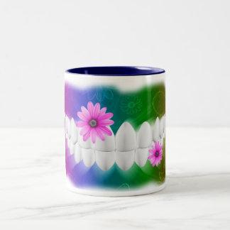 White Teeth Bite With A Flower Dentist Mug