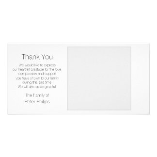 White Template Sympathy Thank you with Gray Border Customised Photo Card