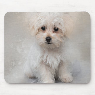 White Terrier Puppy Watercolor for Dog Lover Mouse Pad