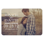White Text Design Photo Save The Date Magnet