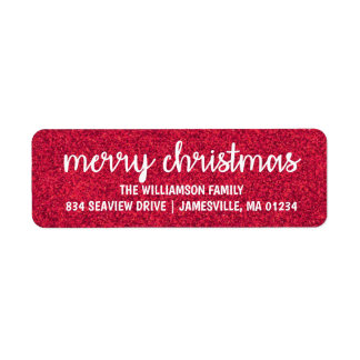 White Text on Red Glitter Return Address Labels