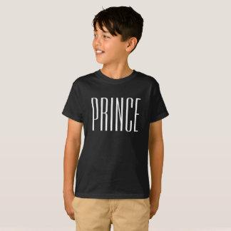 White Text Prince Black T-shirt for kids