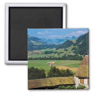 White The flowered courtyard of Gruyere Castle flo Square Magnet