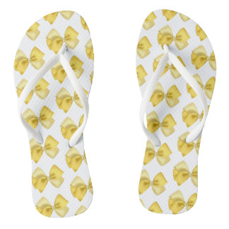 White thongs with yellow bows