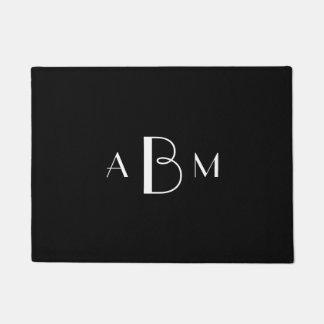 White Three Initial Monogram on Black Doormat