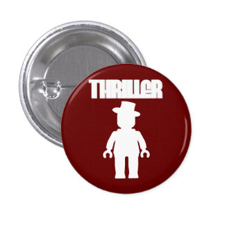 White Thriller Minifig by Customize My Minifig Pinback Button