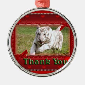 white-tiger-00071-TKU Silver-Colored Round Decoration