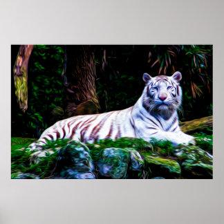 White Tiger 01 - Digital Art Poster