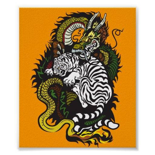 white tiger and green dragon print