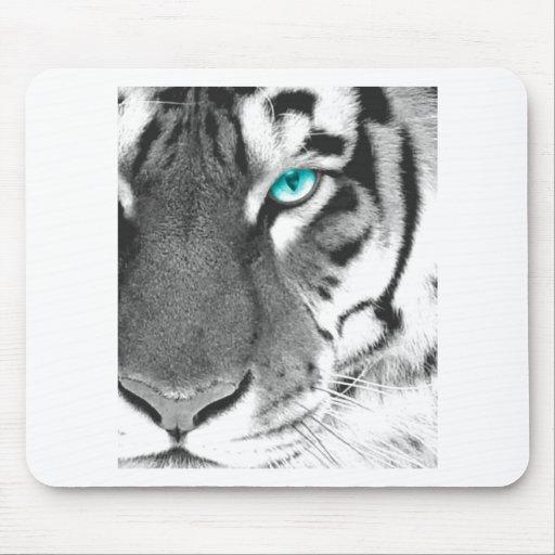 White Tiger aqua eye Mousepads