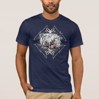 White Tiger Barb Wire Trible Design T-Shirt