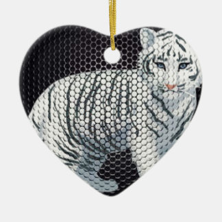 White Tiger & Black Patterns Ceramic Heart Decoration