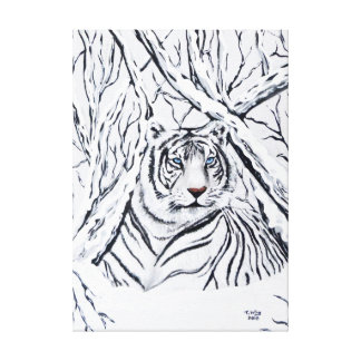 White Tiger Blending In Canvas Print