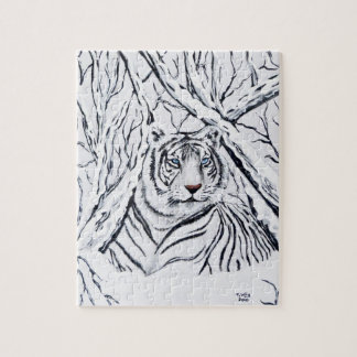 White Tiger Blending In Jigsaw Puzzle