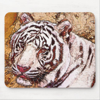 White Tiger Cartoon Mouse Pads